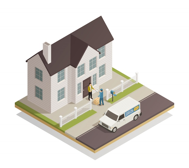 Postal delivery service isometric Free Vector