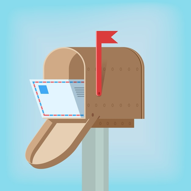 Postal mail box with letter inside design template vector illustration Free Vector