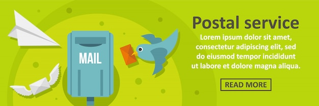 Postal service banner template horizontal concept Premium Vector