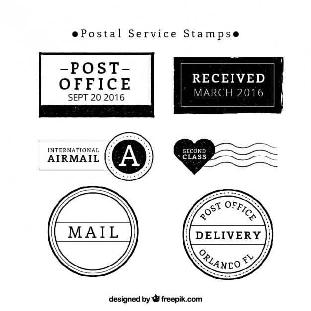 Post Service: Postal Service Stamp Collection Vector