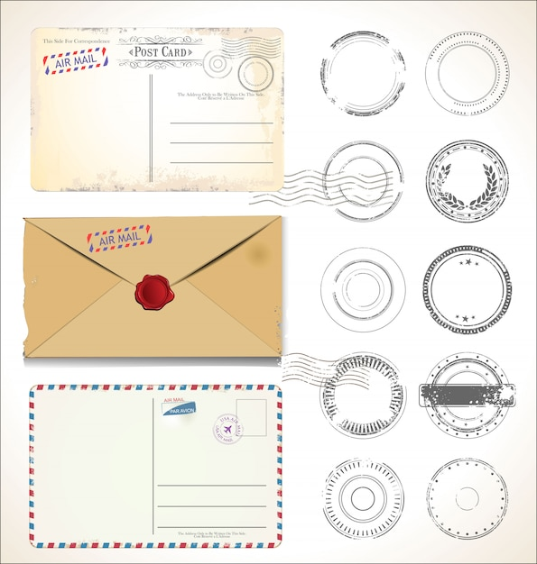 Postal stamp and post card Premium Vector