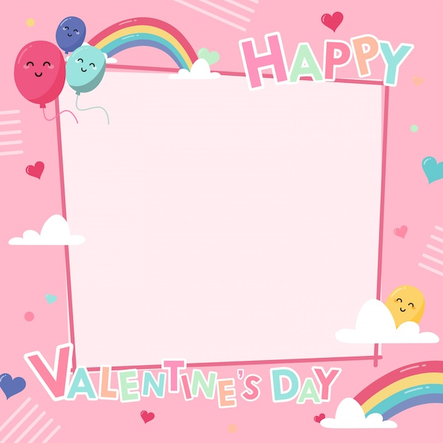 Postcard banner happy valentines day frame with decoration on pink Premium Vector