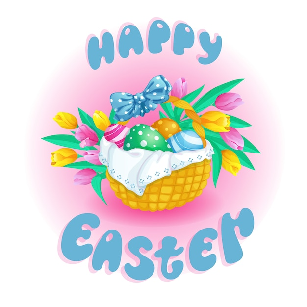 Postcard for easter with a basket Premium Vector