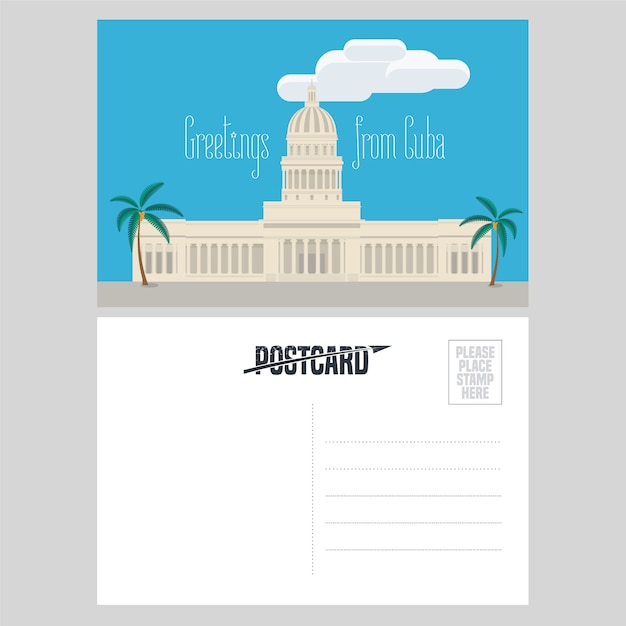 Postcard from cuba with el capitolio  illustration Premium Vector