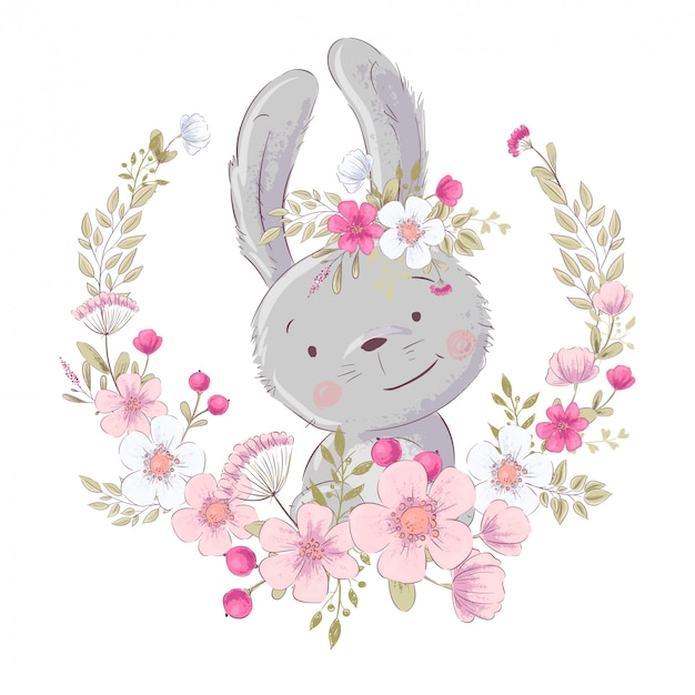 Postcard poster cute little bunny in a wreath of flowers. Premium Vector
