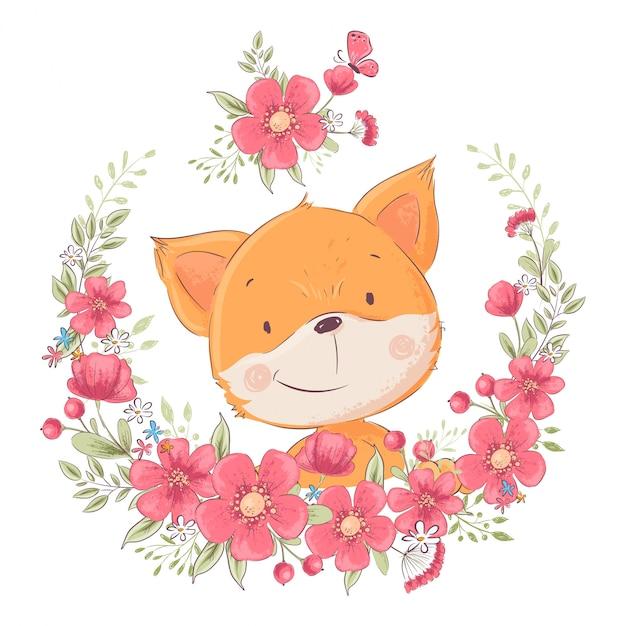 Postcard poster cute little fox in a wreath of flowers Premium Vector