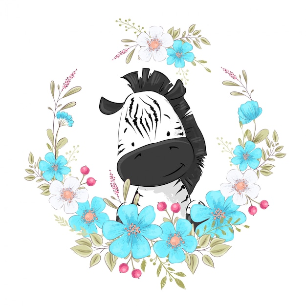 Postcard poster cute little zebra in a wreath of flowers Premium Vector