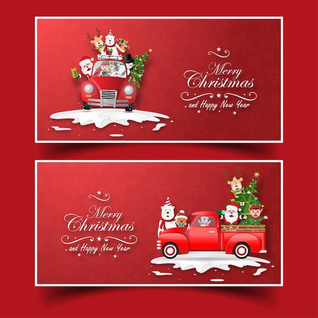 Bưu thiếp ông già Noel và người bạn với xe tải Giáng sinh Vector cao cấp