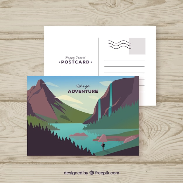 Postcard template with travel concept Free Vector