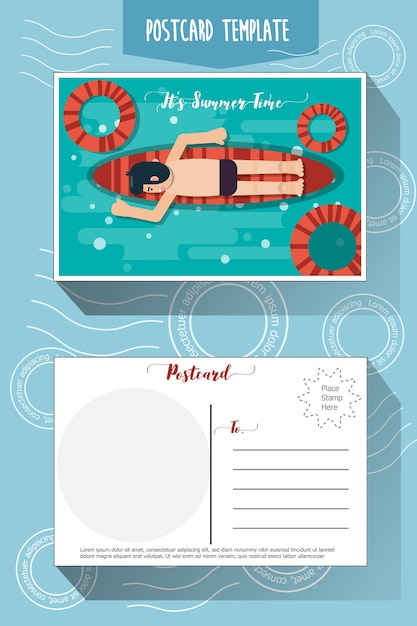 Postcard template Premium Vector