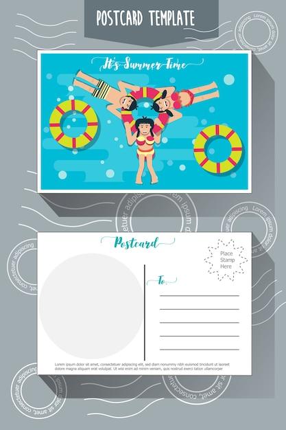 Postcard template Premium Vector