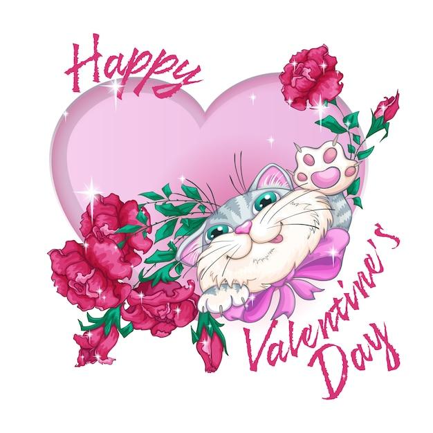 Postcard for valentine's day Premium Vector