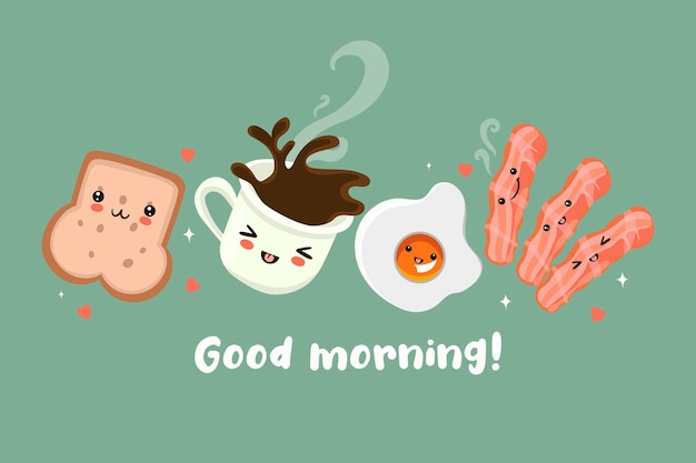 Postcard with a cute breakfast. good morning. Premium Vector