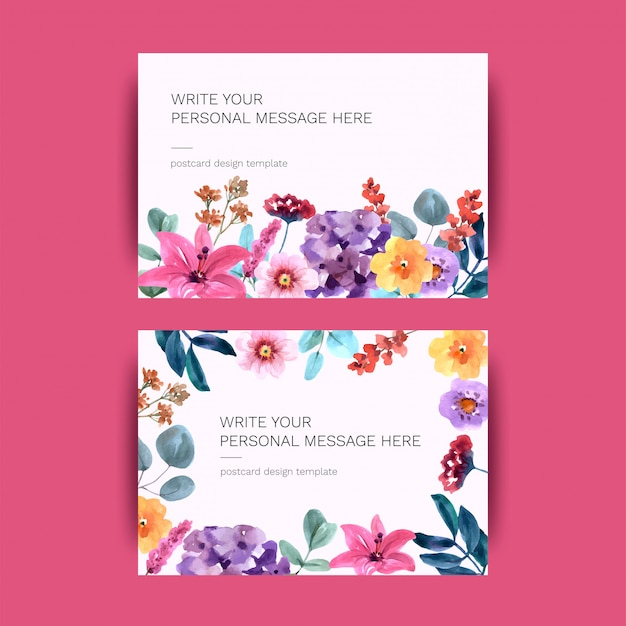 Postcard with flowers Premium Vector