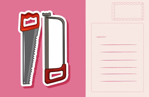 Postcard with handsaws on pink Free Vector