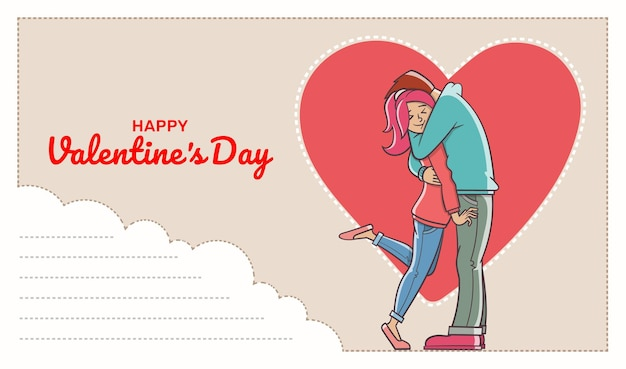 テキストフィールドと愛情のある男性が女性を抱き締めるはがき。バレンタイン・デー。 Premiumベクター