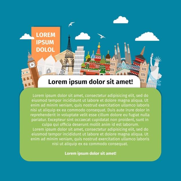 Cartolina con punti di riferimento del mondo. turismo di design, architettura edilizia, famoso monumento. Vettore gratuito
