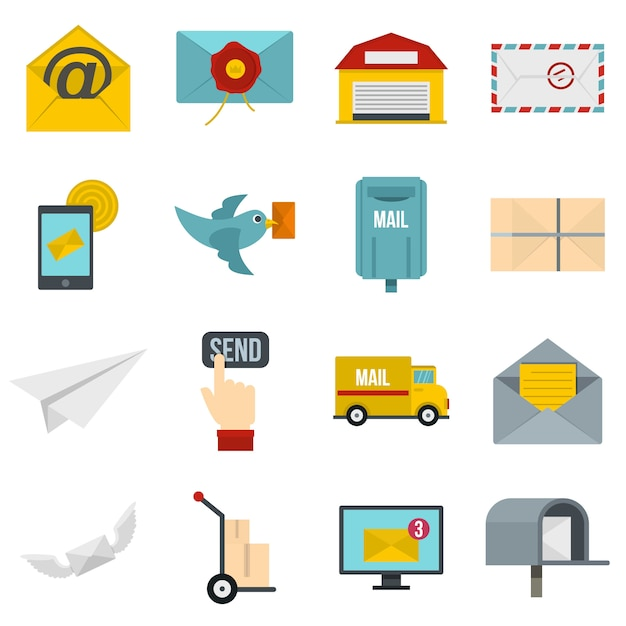 Poste service icons set in flat style Premium Vector