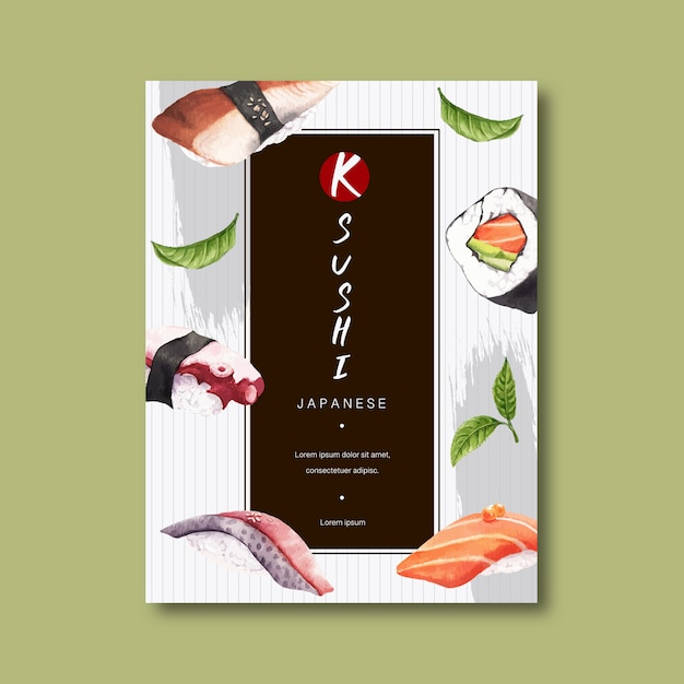 Poster for advertisement of sushi restaurant. Free Vector