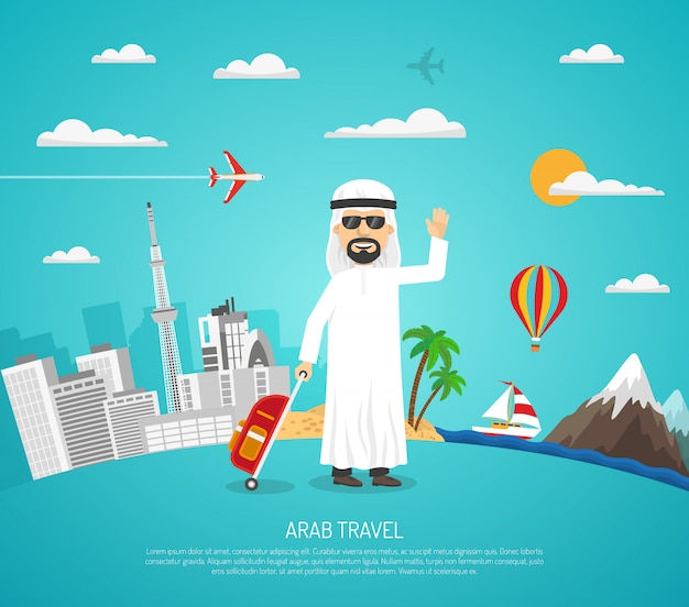 Poster of arab travel Free Vector