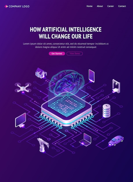 Poster of artificial intelligence Free Vector