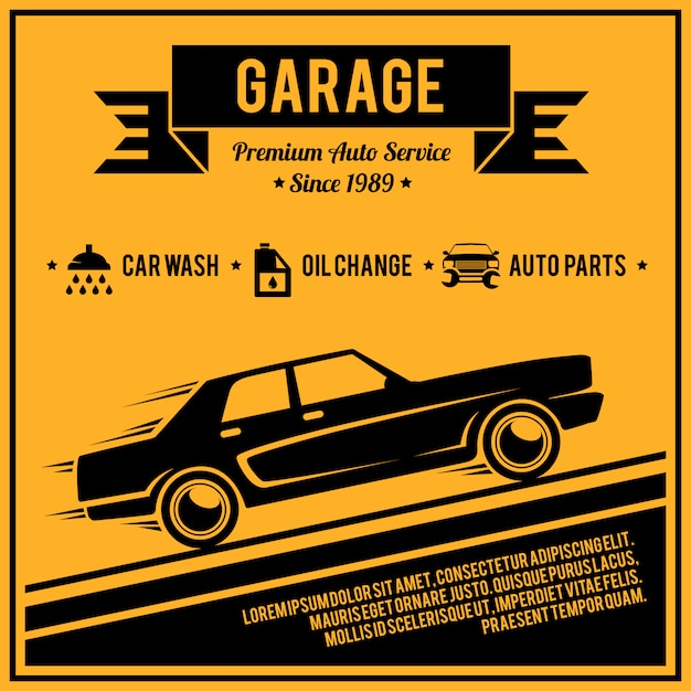 Poster auto service Free Vector