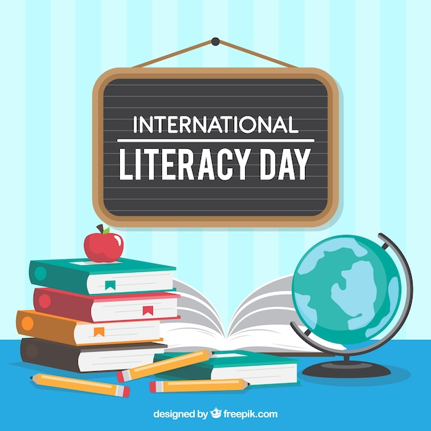 Poster background with elements of international literacy day Free Vector