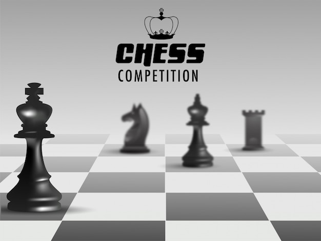 Poster or banner design for chess competition. Premium Vector
