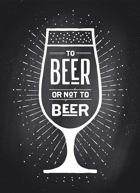 Poster or banner with text to beer or not to beer and vintage sun rays Premium Vector
