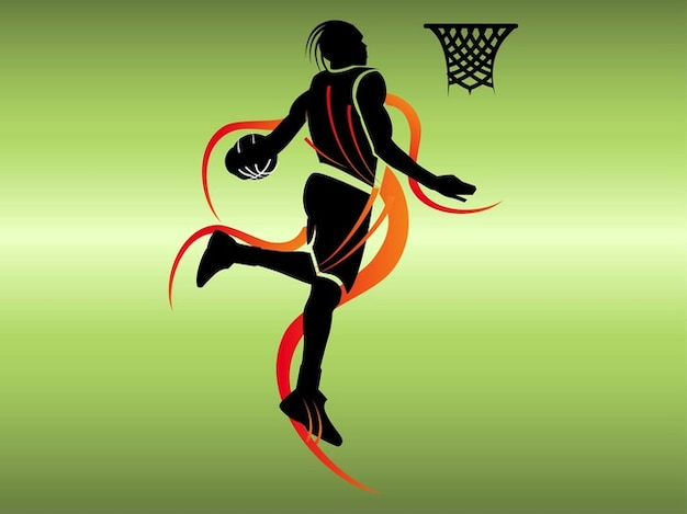 Poster basketball player silhouette Vector | Free Download