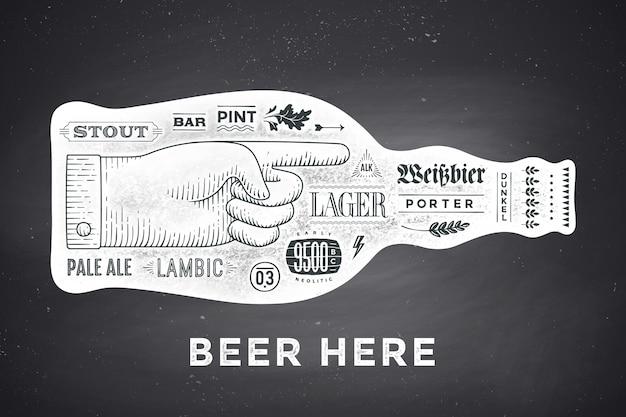 Плакат бутылка пива с рисованной буквами Premium векторы