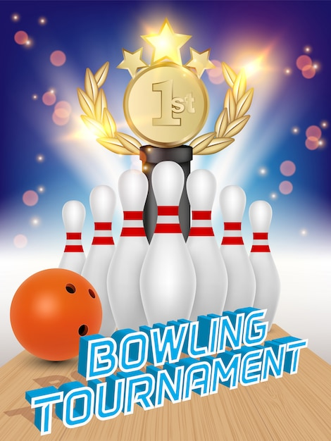 Poster of bowling ball, skittles, award trophy and bowling alley. Premium Vector
