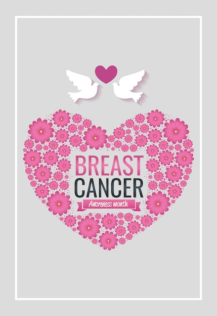 Poster breast cancer awareness month with heart and doves Free Vector