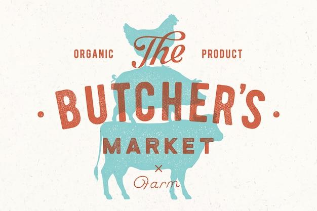 Poster for butcher market Premium Vector