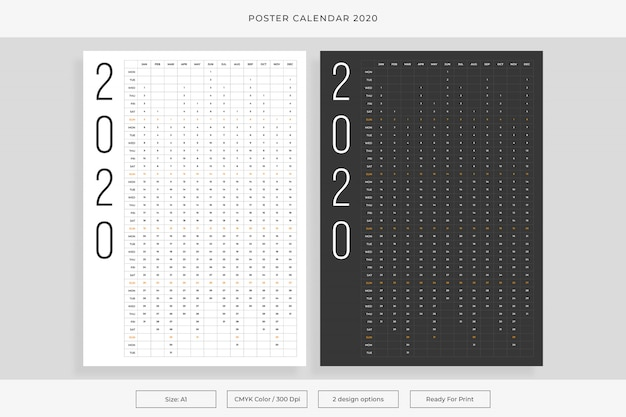 Poster calendar 2020 Premium Vector