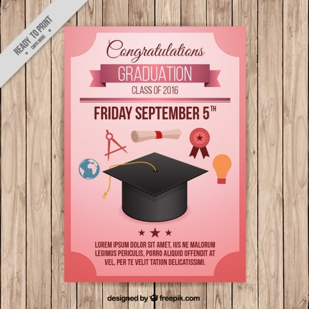 Poster for college graduation Free Vector