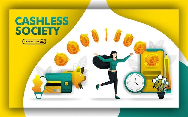 Poster concept for a cashless society Premium Vector