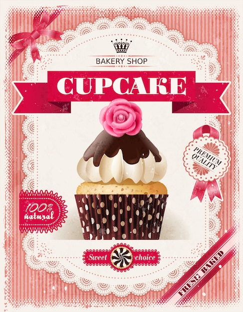 Poster of confectionery bakery with cupcakes Free Vector