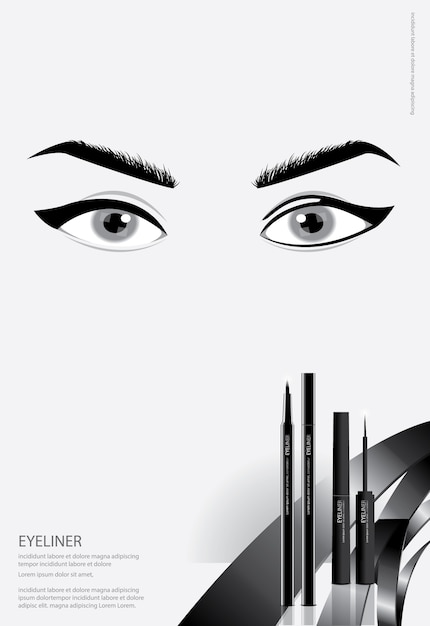 Poster cosmetic eyeliner with packaging Premium Vector