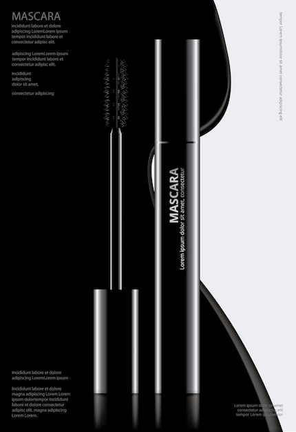 Poster cosmetic mascara with packaging vector illustration Premium Vector