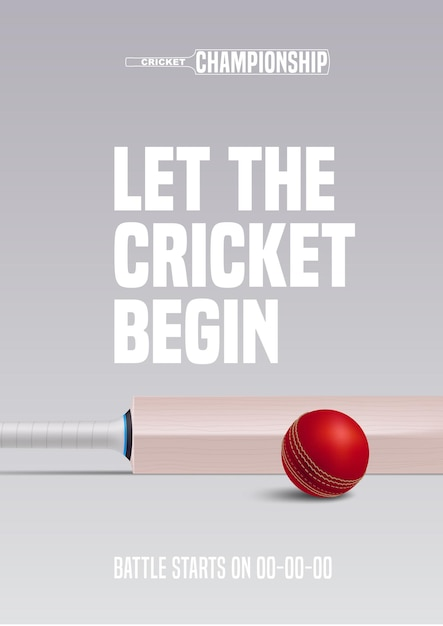 Poster for cricket  illustration. ball and bat for sports contest Premium Vector