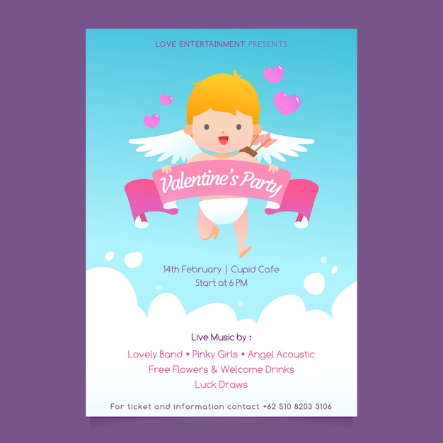 Poster of cupid for valentine's day Free Vector
