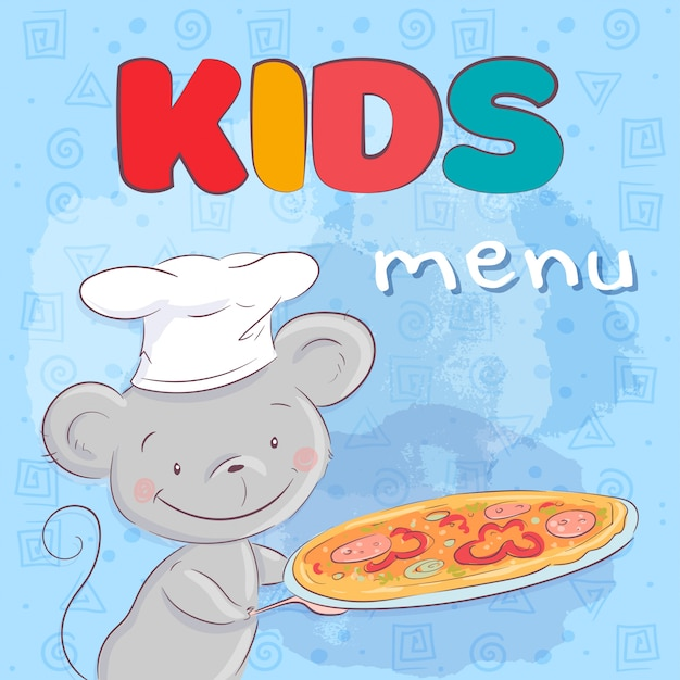 Poster cute mouse with pizza. hand drawing. vector illustration cartoon style Premium Vector