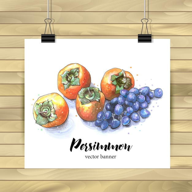 Poster decoration with persimmons Free Vector