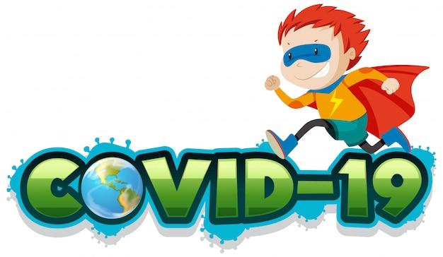 Poster Design For Coronavirus Theme With Boy In Hero Costume Free Vector
