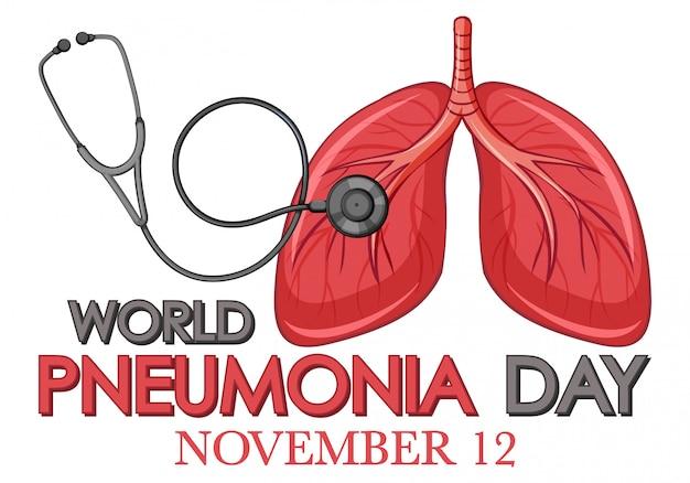 人間の肺と聴診器で肺炎のポスターデザイン 無料ベクター