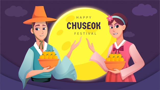 Poster design happy korean chuseok card Premium Vector