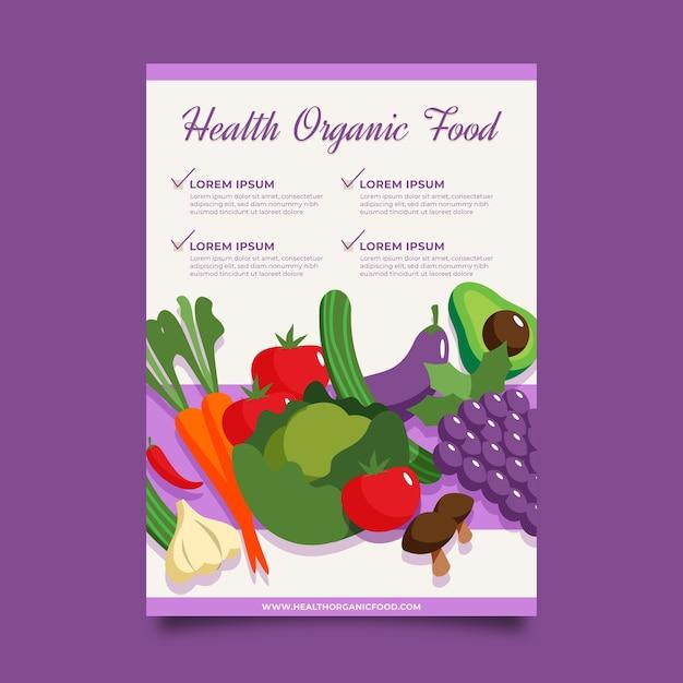 Дизайн плаката здоровой пищи Бесплатные векторы