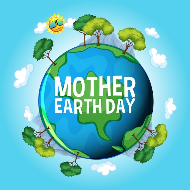 Poster design for mother earth day with blue earth and blue sky Free Vector