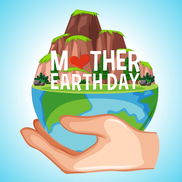 Poster design for mother earth day with earth on human hand Free Vector